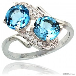14k White Gold ( 7 mm ) Double Stone Engagement Swiss Blue Topaz Ring w/ 0.05 Carat Brilliant Cut Diamonds & 2.34 Carats Round