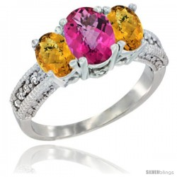 10K White Gold Ladies Oval Natural Pink Topaz 3-Stone Ring with Whisky Quartz Sides Diamond Accent