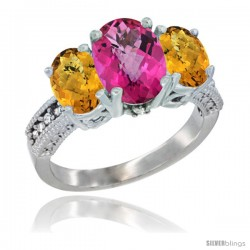 10K White Gold Ladies Natural Pink Topaz Oval 3 Stone Ring with Whisky Quartz Sides Diamond Accent