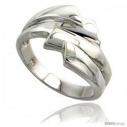 Sterling Silver Freeform Ring Flawless finish 1/2 in wide -Style Trp434