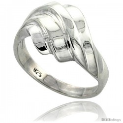 Sterling Silver Freeform Ring Flawless finish 1/2 in wide -Style Trp435