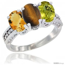 14K White Gold Natural Citrine, Tiger Eye & Lemon Quartz Ring 3-Stone 7x5 mm Oval Diamond Accent