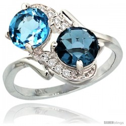 14k White Gold ( 7 mm ) Double Stone Engagement Swiss & London Blue Topaz Ring w/ 0.05 Carat Brilliant Cut Diamonds & 2.34