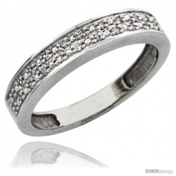 10k White Gold Ladies' Diamond Band, w/ 0.10 Carat Brilliant Cut Diamonds, 5/32 in. (4mm) wide