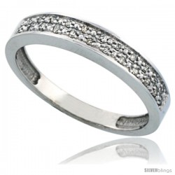 10k White Gold Men's Diamond Band, w/ 0.10 Carat Brilliant Cut Diamonds, 5/32 in. (4mm) wide