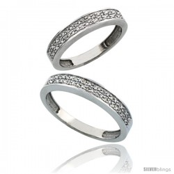 10k White Gold 2-Piece His (4mm) & Hers (4mm) Diamond Wedding Band Set, w/ 0.20 Carat Brilliant Cut Diamonds