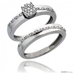 10k White Gold 2-Piece Diamond Engagement Ring Set, w/ 0.22 Carat Brilliant Cut Diamonds, 1/8 in. (3.5mm) wide