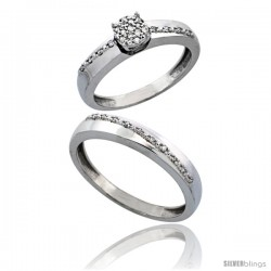 10k White Gold 2-Piece Diamond Ring Set ( Engagement Ring & Man's Wedding Band ), 0.22 Carat Brilliant Cut Diamonds, 1/8 in