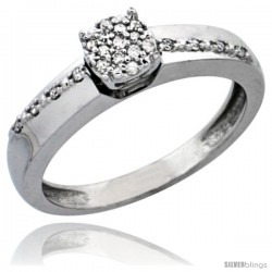 10k White Gold Diamond Engagement Ring, w/ 0.10 Carat Brilliant Cut Diamonds, 1/8 in. (3.5mm) wide
