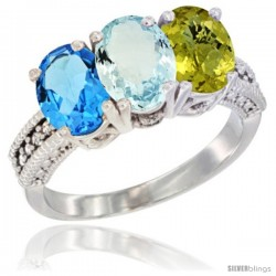 14K White Gold Natural Swiss Blue Topaz, Aquamarine & Lemon Quartz Ring 3-Stone 7x5 mm Oval Diamond Accent