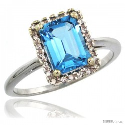 14k White Gold Diamond Swiss Blue Topaz Ring 1.6 ct Emerald Shape 8x6 mm, 1/2 in wide