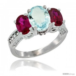 10K White Gold Ladies Natural Aquamarine Oval 3 Stone Ring with Ruby Sides Diamond Accent
