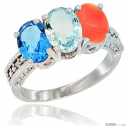 14K White Gold Natural Swiss Blue Topaz, Aquamarine & Coral Ring 3-Stone 7x5 mm Oval Diamond Accent