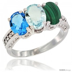 14K White Gold Natural Swiss Blue Topaz, Aquamarine & Malachite Ring 3-Stone 7x5 mm Oval Diamond Accent