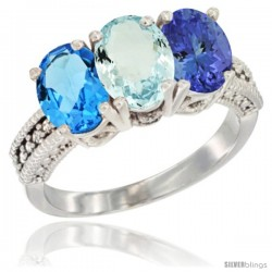 14K White Gold Natural Swiss Blue Topaz, Aquamarine & Tanzanite Ring 3-Stone 7x5 mm Oval Diamond Accent