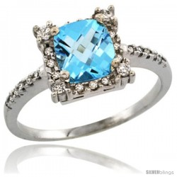 14k White Gold Diamond Halo Swiss Blue Topaz Ring 1.2 ct Checkerboard Cut Cushion 6 mm, 11/32 in wide