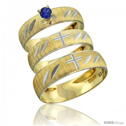 10k Gold 3-Piece Trio Blue Sapphire Wedding Ring Set Him & Her 0.10 ct Rhodium Accent Diamond-cut Pattern -Style 10y504w3