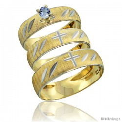 10k Gold 3-Piece Trio Light Blue Sapphire Wedding Ring Set Him & Her 0.10 ct Rhodium Accent Diamond-cut Pattern -Style 10y504w3