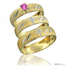 10k Gold 3-Piece Trio Pink Sapphire Wedding Ring Set Him & Her 0.10 ct Rhodium Accent Diamond-cut Pattern -Style 10y504w3