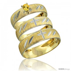 10k Gold 3-Piece Trio Yellow Sapphire Wedding Ring Set Him & Her 0.10 ct Rhodium Accent Diamond-cut Pattern -Style 10y504w3
