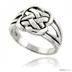 Sterling Silver Celtic Knot Band 7/16 in wide