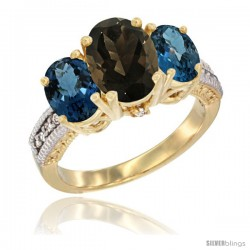 14K Yellow Gold Ladies 3-Stone Oval Natural Smoky Topaz Ring with London Blue Topaz Sides Diamond Accent