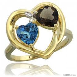 14k Yellow Gold 2-Stone Heart Ring 6mm Natural London Blue Topaz & Smoky Topaz Diamond Accent