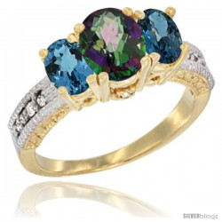 14k Yellow Gold Ladies Oval Natural Mystic Topaz 3-Stone Ring with London Blue Topaz Sides Diamond Accent