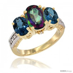 14K Yellow Gold Ladies 3-Stone Oval Natural Mystic Topaz Ring with London Blue Topaz Sides Diamond Accent