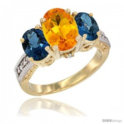 14K Yellow Gold Ladies 3-Stone Oval Natural Citrine Ring with London Blue Topaz Sides Diamond Accent