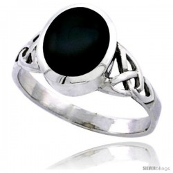 Sterling Silver Celtic Triquetra Trinity Knot Ring with Oval Black Onyx Stone 7/16 in wide