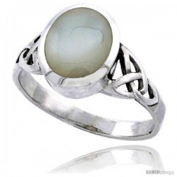 Sterling Silver Celtic Triquetra Trinity Knot Ring with Oval Mother of Pearl 7/16 in wide