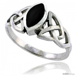 Sterling Silver Celtic Triquetra Trinity Knot Ring with Navette Black Onyx Stone, 1/2 in wide