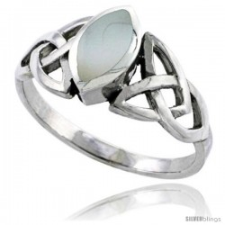 Sterling Silver Celtic Triquetra Trinity Knot Ring with Navette Mother of Pearl, 1/2 in wide