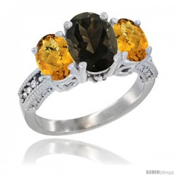 10K White Gold Ladies Natural Smoky Topaz Oval 3 Stone Ring with Whisky Quartz Sides Diamond Accent