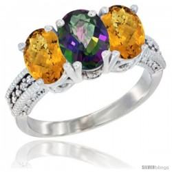 10K White Gold Natural Mystic Topaz & Whisky Quartz Sides Ring 3-Stone Oval 7x5 mm Diamond Accent