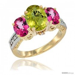 10K Yellow Gold Ladies 3-Stone Oval Natural Lemon Quartz Ring with Pink Topaz Sides Diamond Accent