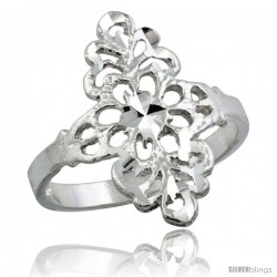 Sterling Silver Floral Filigree Ring, 3/4 in