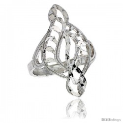 Sterling Silver Swirl Filigree Ring, 1 in