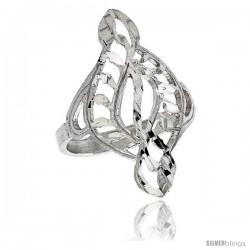 Sterling Silver Swirl Filigree Ring, 1 in