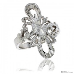 Sterling Silver Double Loop Filigree Ring, 7/8 in