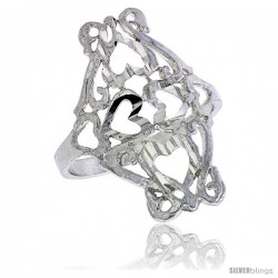 Sterling Silver Heart Cut-outs Filigree Ring, 3/4 in