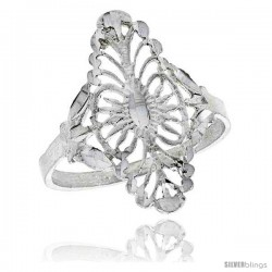 Sterling Silver Navette-shaped Filigree Ring, 1 in