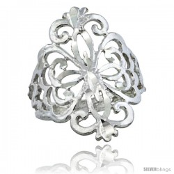 Sterling Silver Floral Pattern Filigree Ring, 3/4 in
