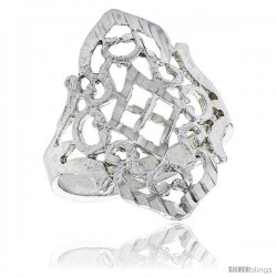 Sterling Silver Diamond-shaped Filigree Ring, 3/4 in