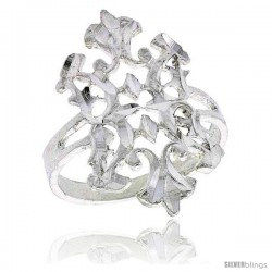 Sterling Silver Fleur de Lis Filigree Ring, 7/8 in
