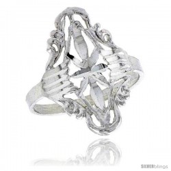 Sterling Silver Diamond-shaped Floral Filigree Ring, 7/8 in -Style Fr416