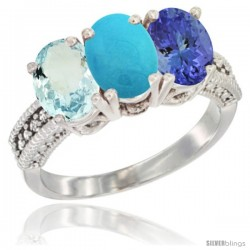 14K White Gold Natural Aquamarine, Turquoise & Tanzanite Ring 3-Stone Oval 7x5 mm Diamond Accent