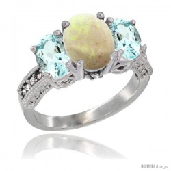 14K White Gold Ladies 3-Stone Oval Natural Opal Ring with Aquamarine Sides Diamond Accent