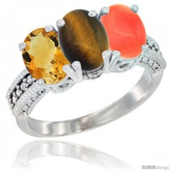 14K White Gold Natural Citrine, Tiger Eye & Coral Ring 3-Stone 7x5 mm Oval Diamond Accent